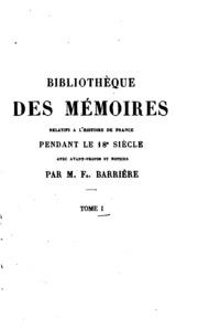 Vol 1: Bibliotheque des mémoires relatifs a lhistoire de France