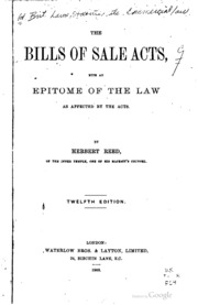 The Bills Of Sale Acts: With An Epitome Of The Law As Affected By The Acts