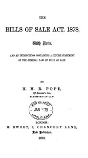 The Bills Of Sale Act, 1878: With Notes, And An Introduction Containing A  Concise Statement On .