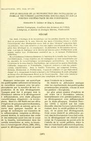 Vol 11: Sur la biologie de la reproduction des patelles de la famille Tecturidae Gastropoda: Docoglossa et sur la position systematique de ses subdivisions