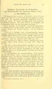Vol 1908: Kritisches Verzeichnis dor Pselaphiden und Scydmaeniden der Jonischen Inseln