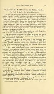 Vol 1912: Glazialzeitliche Relik-tenfauna im hohen Norden