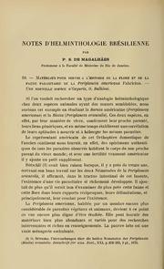 Vol 3: Notes d-helminthologie Brésilienne. 10—Matériaux pour server a l-hitoire de la flore et de la faune parasitaire de la Periplanata americana Fabricius.