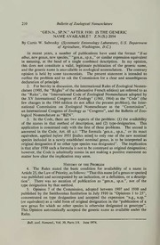 Vol 30: Gen.n., sp.n. after 1930: is the generic name available Z.N.(S.) 2054