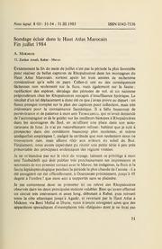 Vol 8: Sondage eclair dans le Haut Atlas Marocain. Fin juillet 1984