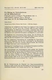 Vol 8: Ein Beitrag zur Noctuidenfauna auf der Balkanhalbinsel. Chersotis cuprea jordanovi Tuleschkow syn. n. und Conistra ragusae Failla Tetaldi eine neue Art fur die Bulgarische Fauna