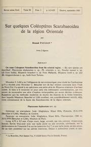 Vol 90: Sur quelques Coléoptères Scarabaeoidea de la région Orientale