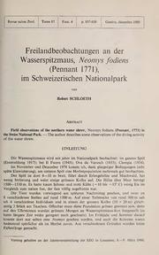 Vol 87: Freilandbeobachtungen an der Wasserspitzmaus, Neomys fodiens Pennant, 1771, im Schweizerischen Nationalpark