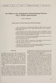 Vol 26: Die Milben in der Zoologischen Staatssammlung München – Teil 2. Familie Spinturnicidae Acari, Gamasida