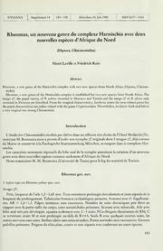 Vol 14: Rheomus, un nouveau genre du complexe Harnischia avec deux nouvelles especes d-Afrique du nord Diptera, Chironomidae
