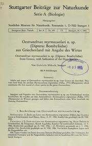 Vol 493: Oestranthrax myrmecaeluri n. sp. Diptera: Bombyliidae aus Griechenland mit Angabe des Wirtes