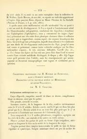 Vol 1908: Collections recueillies par M. Maurice de Rothschild dans l-Afrique orientnle. Description d-une nouvelle espece de Myriapode du genre Polyxenus