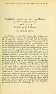 Vol 36: Arachniden von Ceylon und von Minikoy gesammelt von den Herren Doctoren P. und F. Sarasin
