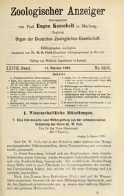 Vol 28: Eine interessante neue Milbengattung aus der schweizerischen Sammlung des Herrn Dr W. Volz