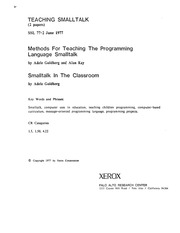 xerox :: parc :: techReports :: SSL-77-2 Teaching Smalltalk