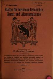 Vol 3-4: Blätter für bernische Geschichte, Kunst und Altertumskunde