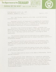 U.S. Mint communications on the proposed redesigns planned for the 1976 Bicentennial