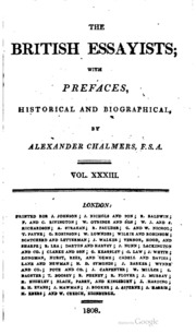 chalmers british essayists A complete 45-volume set of the british essayists with prefaces, historical and biographical compiled by alexander chalmers published over a 12-month period between 1802 and 1803 for j johnson e.