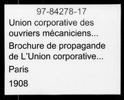 Brochure de propagande de LUnion corporative des ouvriers mécaniciens de la Seine microform ..