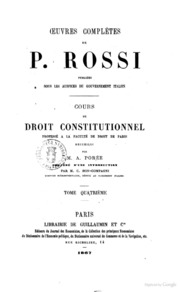 Oeuvres Completes de P. Rossi