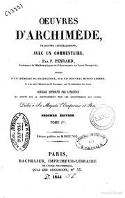 Oeuvres d-Archimède, traduites littéralement, avec un commentaire par F. Peyrard,... Tome 1