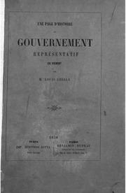 Une page d-histoire du gouvernement representatif en Piemont ouvrage enrichi de plusieurs documents inedits par Louis Chiala