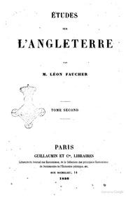 ÿtudes sur l-Angleterre par m. Léon Faucher