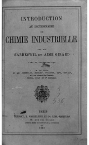 Introduction au dictionnaire de chimie industrielle par Barreswil et Aimé Girard