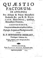 quaestio factorum in apologia pro abate amp priore