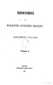 Discorsi del barone d 39 ondes reggio al parlamento italiano for Radio parlamento streaming
