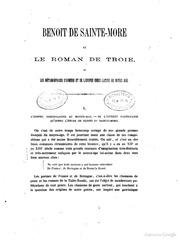 Benoit de SainteMore et le roman de Troie ou les Métamorphoses dHomére et de lépopée grécolatine au moyenage par A. Joly 1. Partie