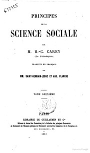 Principes de la science sociale par H.C. Carey