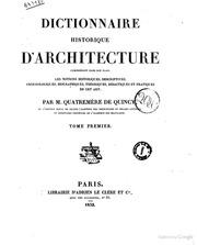Dictionnaire historique d 39 architecture comprenant dans son for Dictionnaire architecture