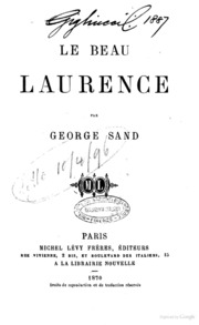 Oeuvres de George Sand Le beau Laurence