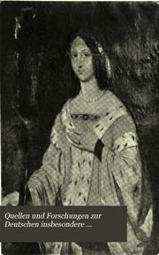 Quellen und Forschungen zur Deutschen insbesondere Hohenzollerischen Geschichte