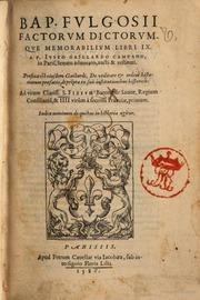 bap fulgosii factorum dictorumque memorabilium libri 9 a