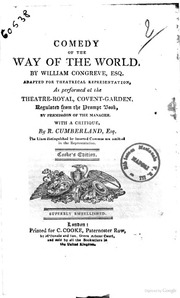 a critique of the way of the world by william congreve Buy the way of the world by william congreve (paperback) online at lulu visit the lulu marketplace for product details, ratings, and reviews.