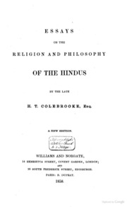 essays on the religion and philosophy of the hindus colebrooke essays on the religion and philosophy of the hindus