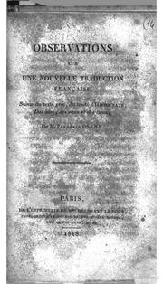 Observations sur une nouvelle traduction française, suivie du texte Grec, du traité d-Hippocrate des airs, des eaux et des lieux