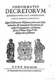 confirmatio decretorum congregationis sre cardinalium