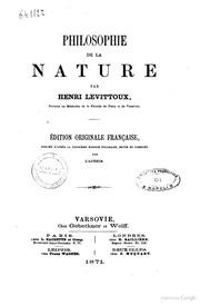 Philosophie de la nature par Henri Levittoux