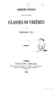 Observations sur l-état des classes ouvrières