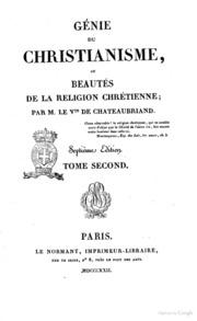 Génie du christianisme, ou Beautés de la religion chrétienne; par m.le Vte de Chateaubriand. Tome premier cinquième