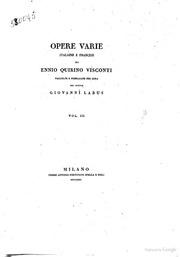 Opere varie italiane e francesi di Ennio Quirino Visconti raccolte e pubblicate per cura del dottor Giovanni Labus Vol. 3