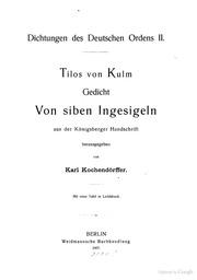 Tilos von Kulm Gedicht von siben ingesigeln; aus der Künigsberger handschrift