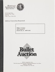 Bullet Auction: Held in conjunction with the 6th Annual Fall Suburban Washington/Baltimore Coin Show