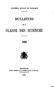 Bulletin de la Classe des sciences