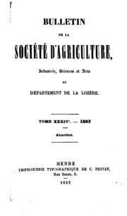 BULLETIN DE LA SOCIETE DAGRICULTURE, INDUSTRIE, SCIENCE ET ARTS U DEPARTEMENT DE LA LOZERE