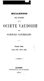 Bulletin de la Société vaudoise des sciences naturelles