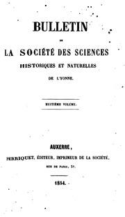 Bulletin de la Société des sciences historiques et naturelles de lYonne